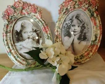 Ceramic Photo frame, Vintage style Floral Photo Frame, Floral Oval Photo Frame, Baroque style photo frame, Pink floral, Oval Picture Frame