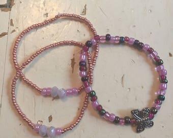 Set of 3Rose gold/pink/butterfly bracelets
