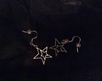 Silver Star charm earring