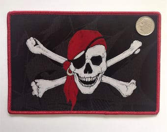 Jolly Roger Flag iron on patch - Designed and Made in USA