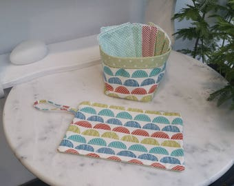 Set Kit toiletry bag with wipes + his basket in red blue green cotton