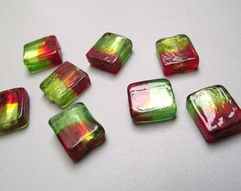 8 green and Red 16 mm square glass beads.