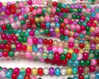 100 glass Crackle beads mix multicolor 4 mm.