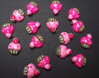 12 cabochons acrylic pink cupcakes.