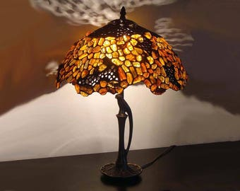 Tiffany Lamp with Amber 16'', Tiffany Desk Lamp, Tiffany Lamp, Desk Lamp, Lamp, Baltic Amber