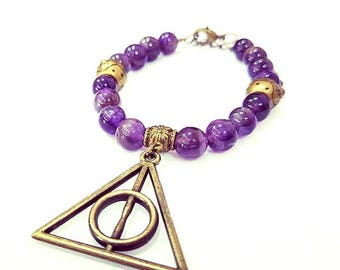 Amethyst Bracelet With Harry Potter Deathly Hallow Charm
