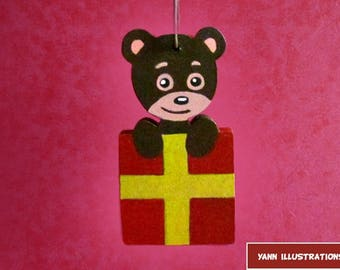 Hand painted hanging Christmas Teddy bear gift in fretwork