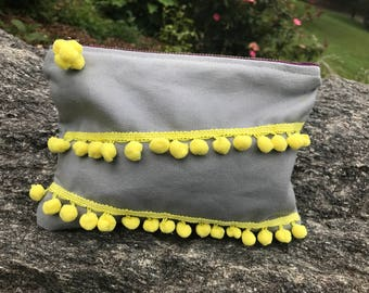 Grey and Yellow Zipper Pouch