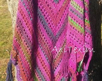 Fuchsia/green ombre crochet shawl