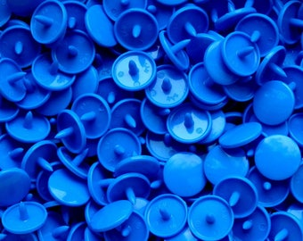 Set of 25 buttons pressures resin round KAM T5 blue Smurf B8