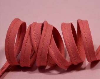 4 m of old pink cotton piping - dark 10mm