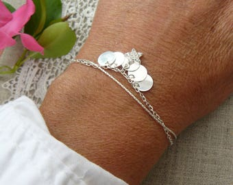 Double chain, coins, Star, zircons, 925 sterling silver bracelet