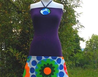 Corset/petticoat dress in Jersey - plum flower white/blue/green/orange yoke way necklace