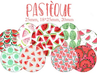 """Cabochons collage sheet / digital """"Watermelon, watermelon, red, summer, water"""" round and oval"""