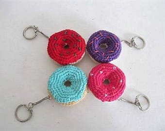 Key ring DONUTS crocheted by hand, gift