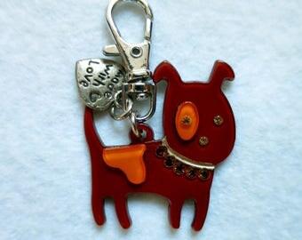 Dog Keychain brown/orange