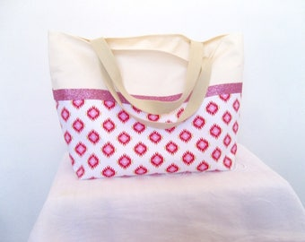 Large bag with geometric patterns, glitter tape