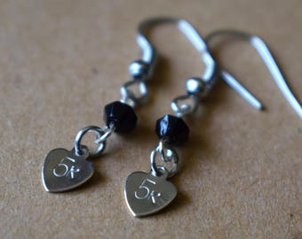 """Hand Stamped """"5k"""" Earrings with Black Beads"""