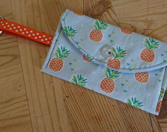 Coin purse Keychain cotton pineapple sky blue background