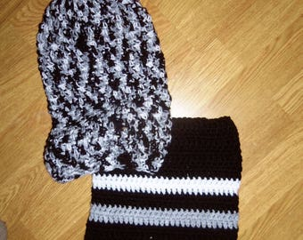 Set Hat + snood for boy, black and white