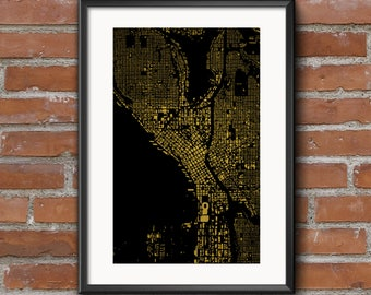 Seattle Map Art Print — Golden // Seattle Poster   Seattle Art   Seattle Print // Free Shipping