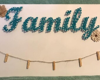 Family String Art w/Picture Hangers