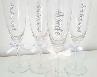 Personalised champagne flute, Silver with silver ribbon