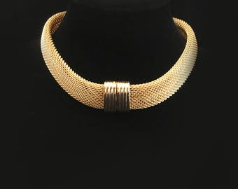 Signed Rau Klikit Vintage 1960s 1970s Gold Tone Mesh Choker Collar Necklace - Haute Couture Runway