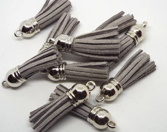 Small Grey Suede Tassel Charm 38mm Pack of 5