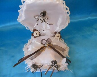 White, ivory and chocolate box ring BEARER pillow.