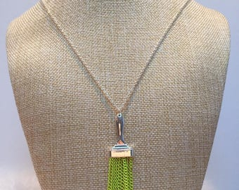 Neon yellow brush silver necklace chains