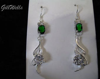 "Earrings ""Emerald and Topaz silver Arabesque"""