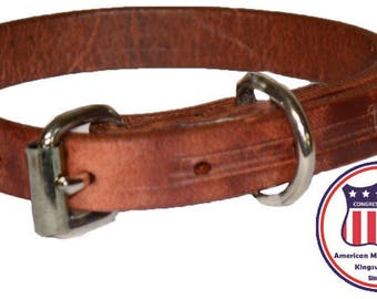 harness leather dog collar Made in the USA