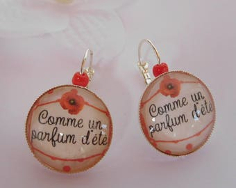"""As a parfum d ' été"" cabochon earrings bronze color support"