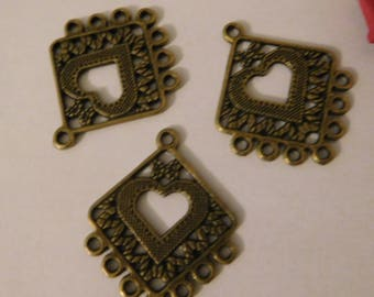10 supports earrings bronze pendant 30 x 25 mm