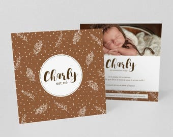 White leaves and Brown weaving christening or birth announcement - model Charly