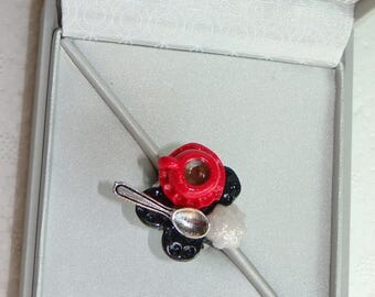 ring with cherry red polymer clay chocolate break tray