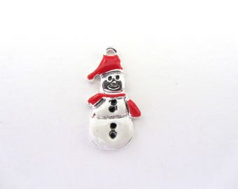 Charm, pendant, Christmas snowman snow white and Red
