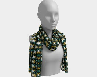 "Beautiful Scarf, Head Scarf, ""Design Moss, Made to order"""