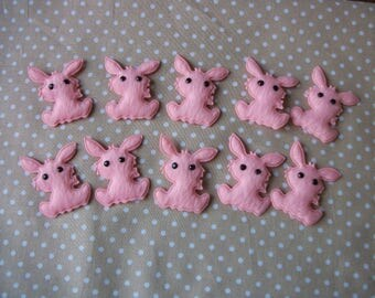 10 applied pink Bunny / decoration - on booties and other sewing... 4 x 3 - baby.
