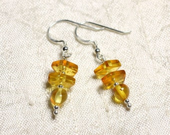 925 Silver earrings and 6-9mm natural honey amber