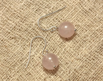 Stone - 10mm Rose Quartz and 925 Sterling Silver earrings
