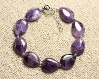 Bracelet 925 sterling silver and Amethyst - stone drops 16x12mm