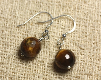 Earrings 925 Silver - Tiger eye faceted 10mm