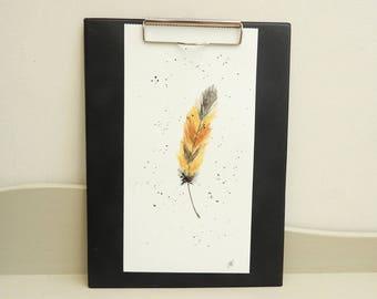 Original watercolor boho feather