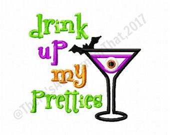 Halloween embroidery design, witch embroidery design, drink up embroidery design, martini glass embroidery design