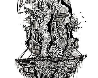 Uprooted Castle - Original Pen and Ink Drawing
