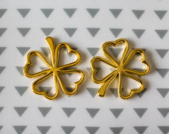 Set of 2 pendants clovers alloy gold plated, 32 mm
