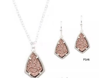 Kendra Scott Inspired Drusy Kite Set Available in 8 Colors in Silver Tone