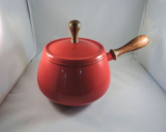 Mid-Century Red Fondue Pot Cookware